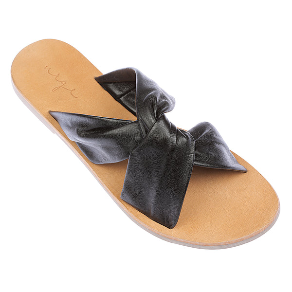 Goldie black leather crossover slide 1