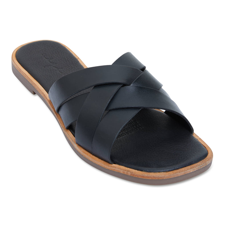 Grace black leather crossed over slides for women 1