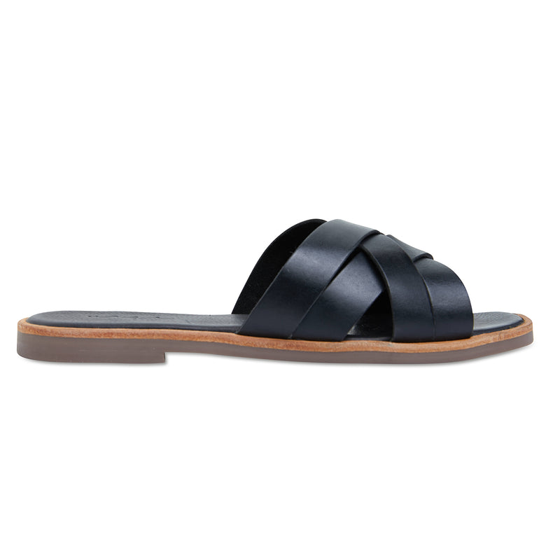Grace black leather crossed over slides for women
