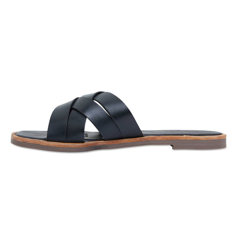 Grace black leather crossed over slides for women 3