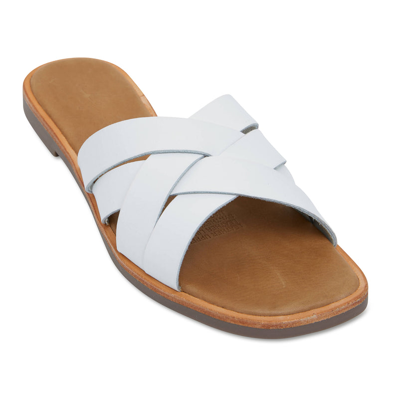 Grace black white  crossed over slides for women 1