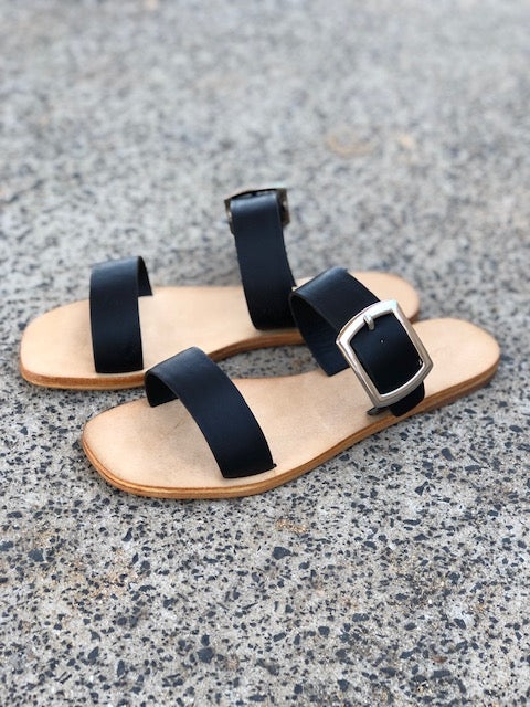 Harper black leather double band slides with silver buckle lifestyle
