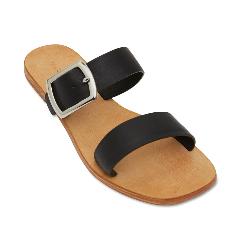 Harper black leather double band slides with silver buckle 1