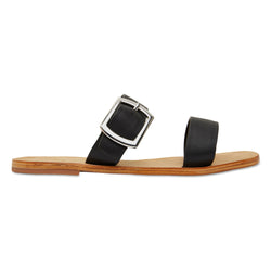 Harper black leather double band slides with silver buckle