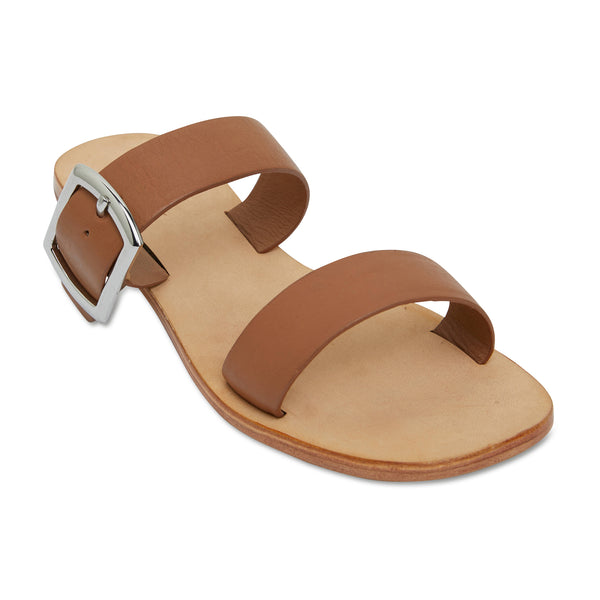 Harper tan leather double band slides with silver buckle 1