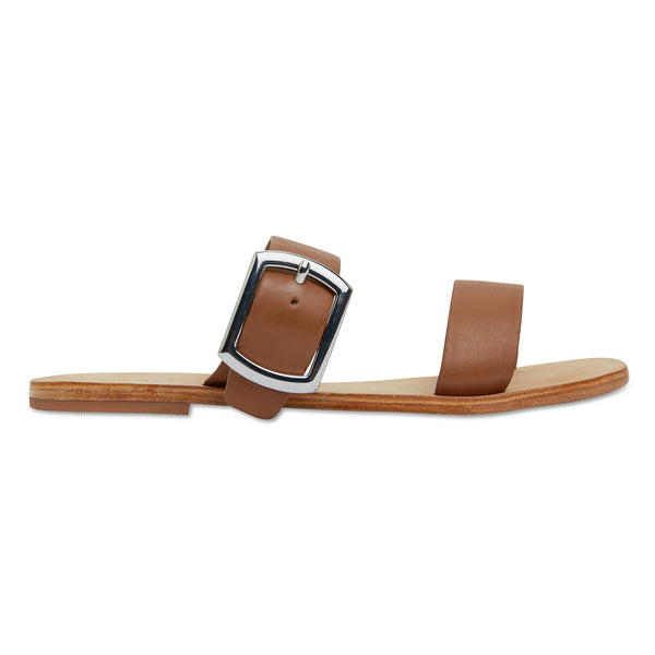 Harper tan leather double band slides with silver buckle