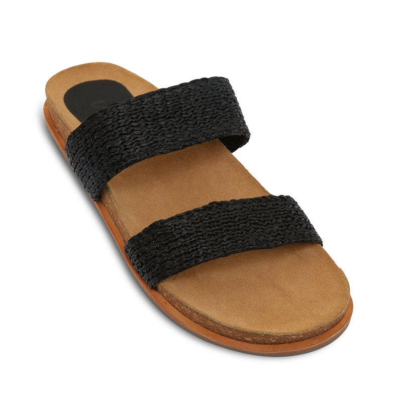 Jules black raffia double banded slides with molded footbed 2