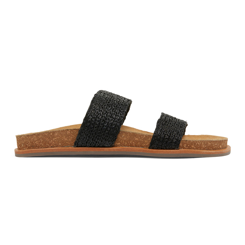 Jules black raffia double banded slides with molded footbed