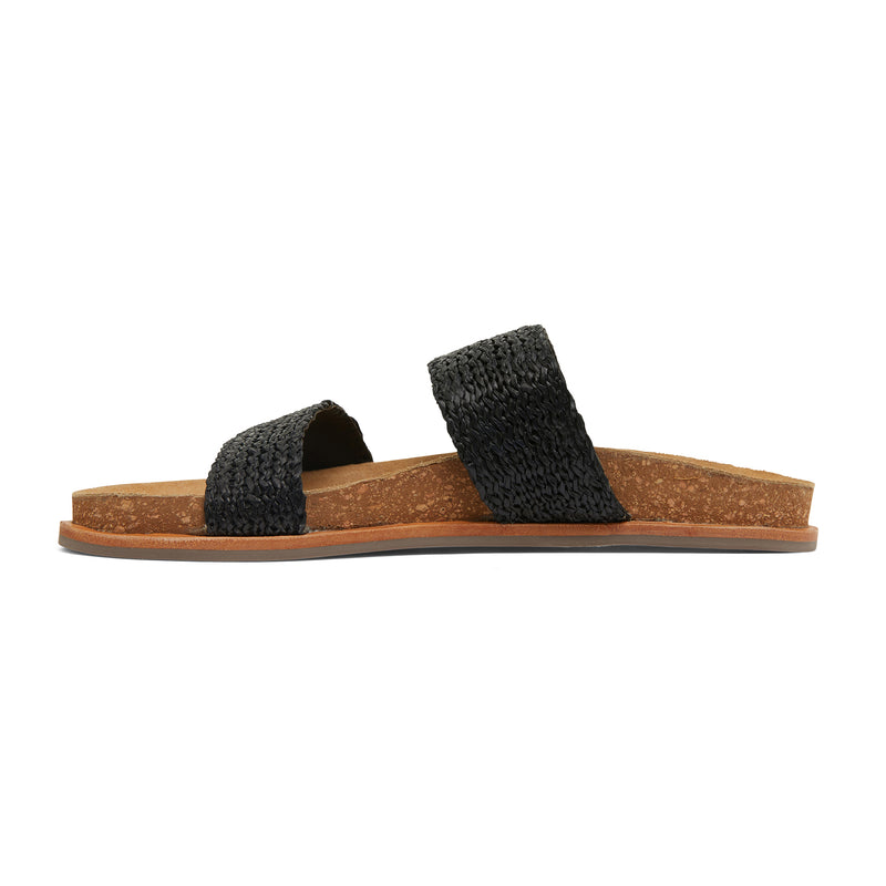Jules black raffia double banded slides with molded footbed 3
