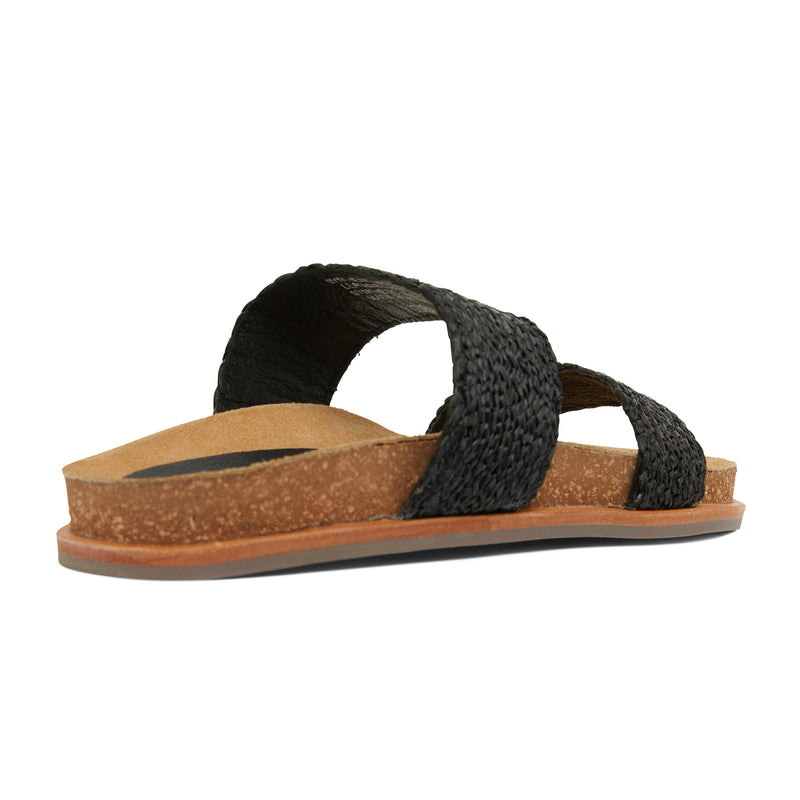 Jules black raffia double banded slides with molded footbed 4