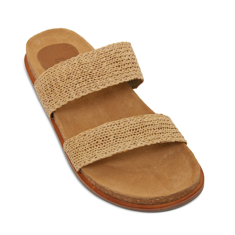 Jules natural raffia double banded slides with molded footbed 1