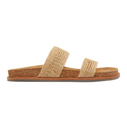 Jules natural raffia double banded slides with molded footbed