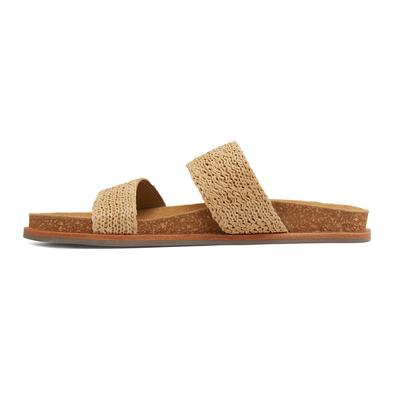 Jules natural raffia double banded slides with molded footbed 2