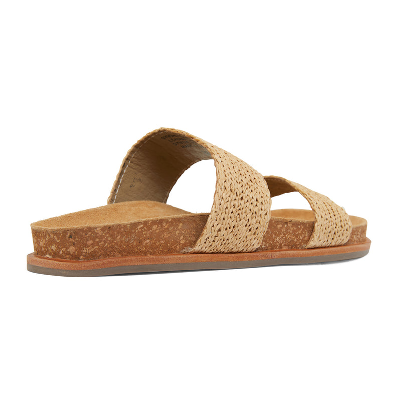 Jules natural raffia double banded slides with molded footbed 3