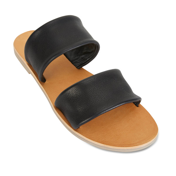 Jada Black milled leather double banded slides 2