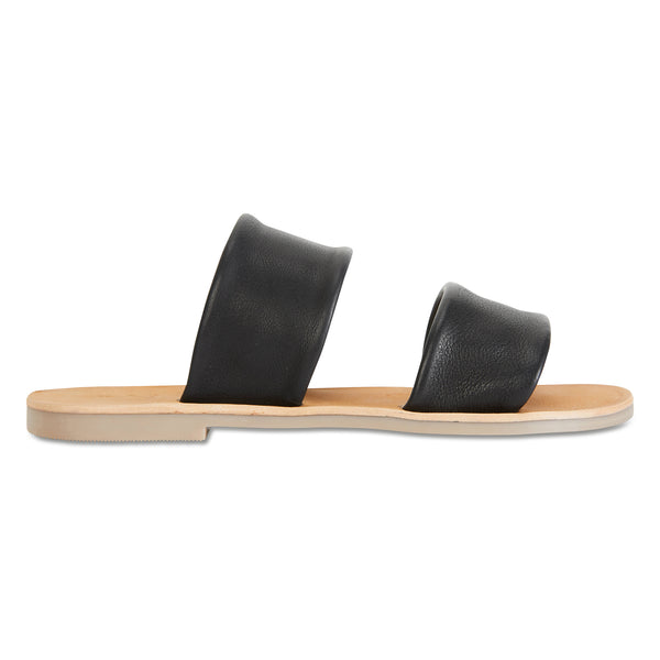 Jada Black milled leather double banded slides
