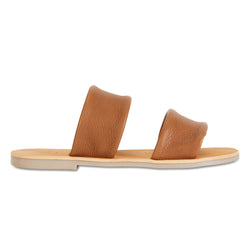 Jada tan milled leather double banded slides