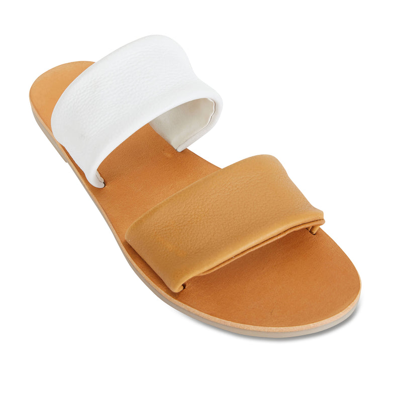 Jada mustard white milled leather double banded slides 1