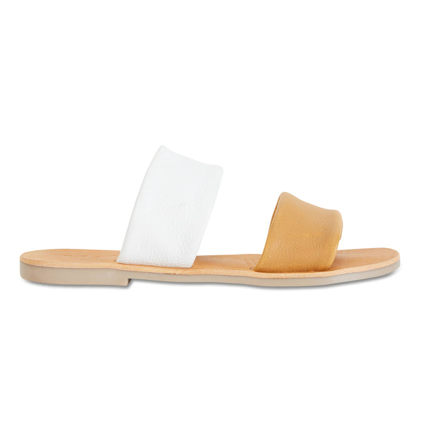 Jada mustard white milled leather double banded slides