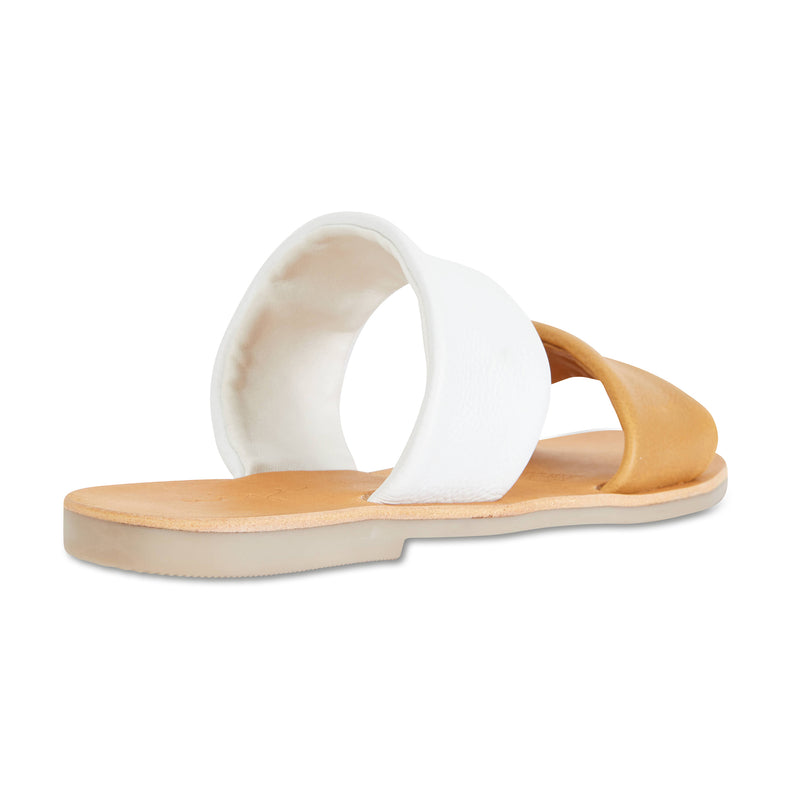 Jada mustard white milled leather double banded slides 2