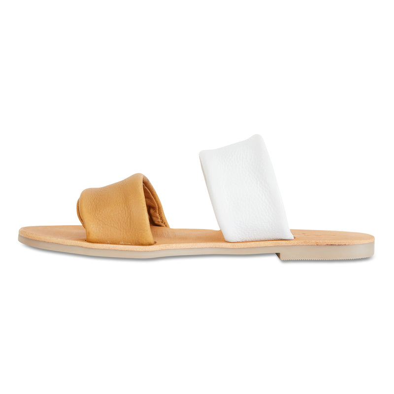 Jada mustard white milled leather double banded slides 4