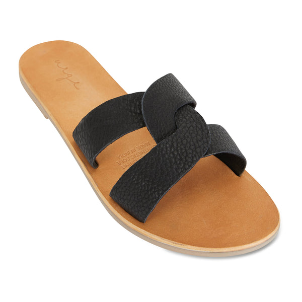 Jinni black leather slides for women 1