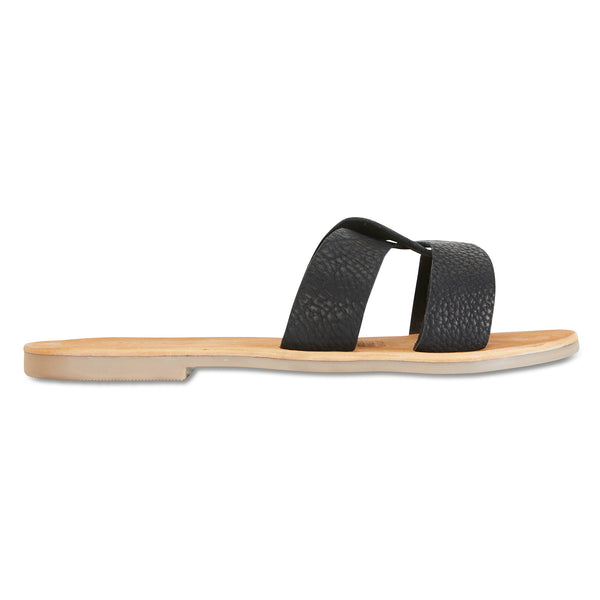 Jinni black leather slides for women