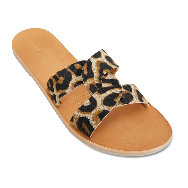 Jinni black tan leopard leather slides for women 1