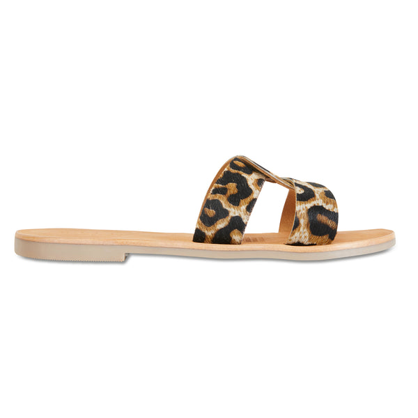 Jinni black tan leopard leather slides for women
