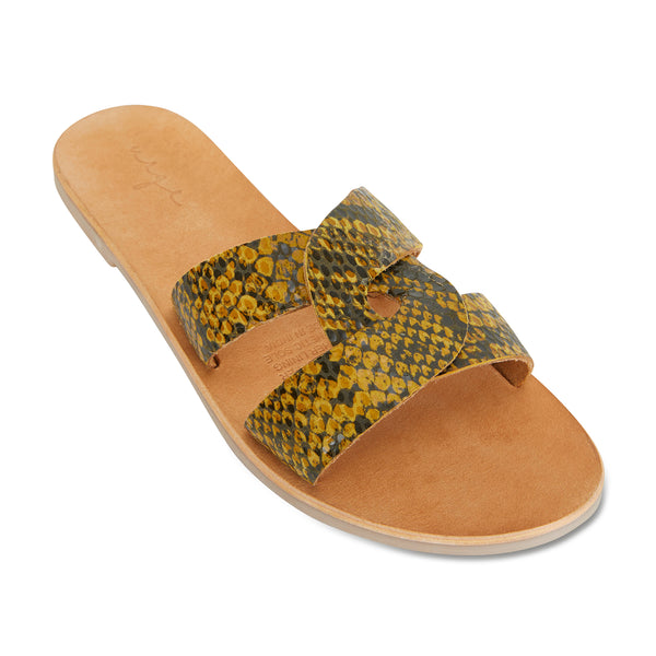 Jinni mustard black snake leather slides for women 1