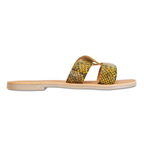 Jinni mustard black snake leather slides for women