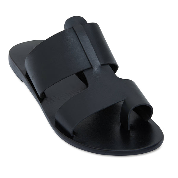 Jordan all over black leather slides for women 1