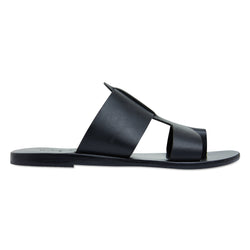 Jordan all over black leather slides for women