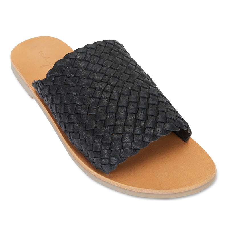 Juju black milled woven leather slides for women 1
