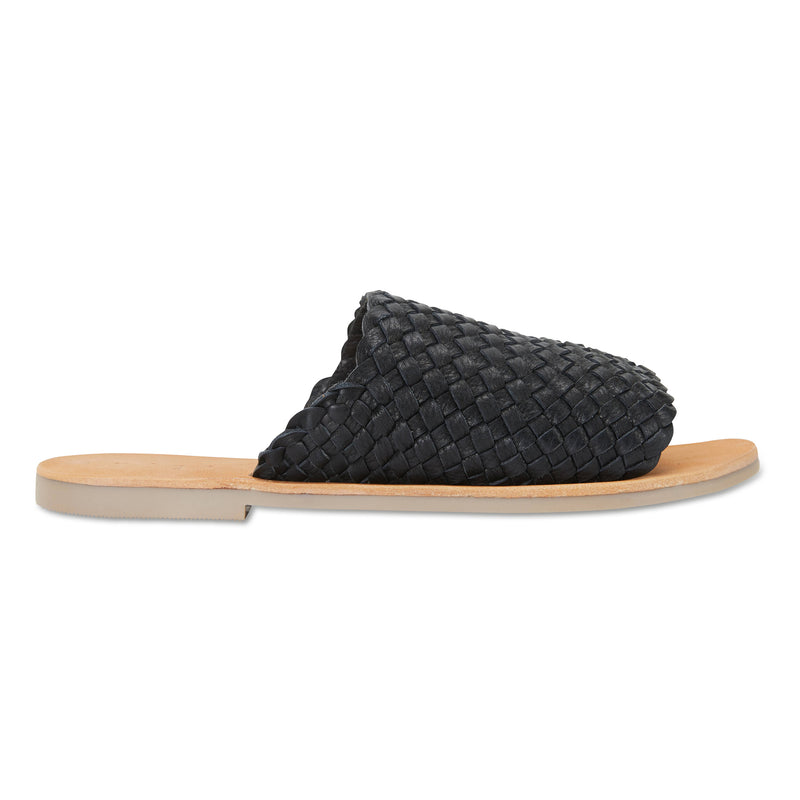 Juju black milled woven leather slides for women