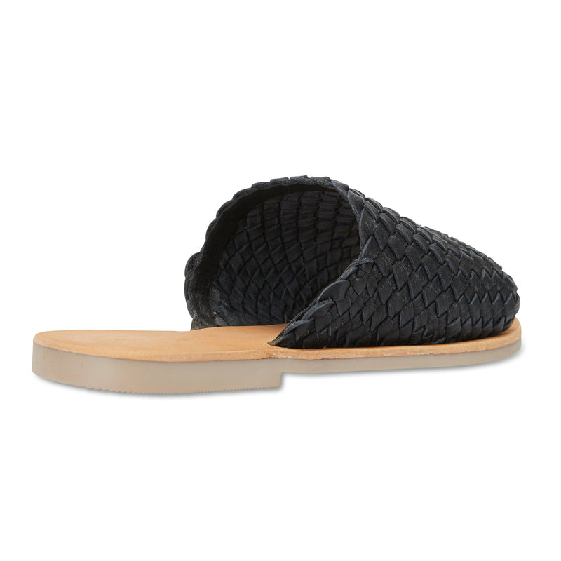 Juju black milled woven leather slides for women 2