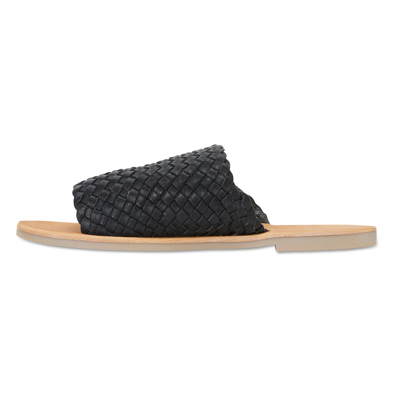 Juju black milled woven leather slides for women 3
