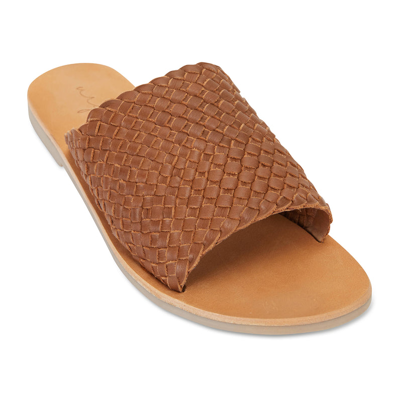 Juju cognac milled woven leather slides for women 1