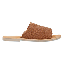 Juju cognac milled woven leather slides for women