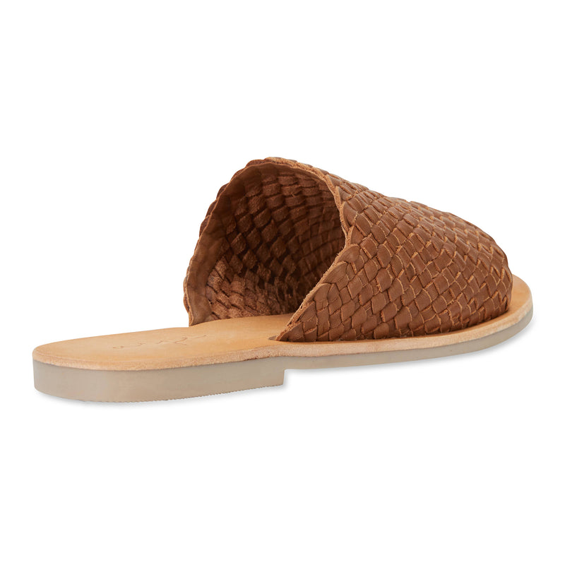 Juju cognac milled woven leather slides for women 3