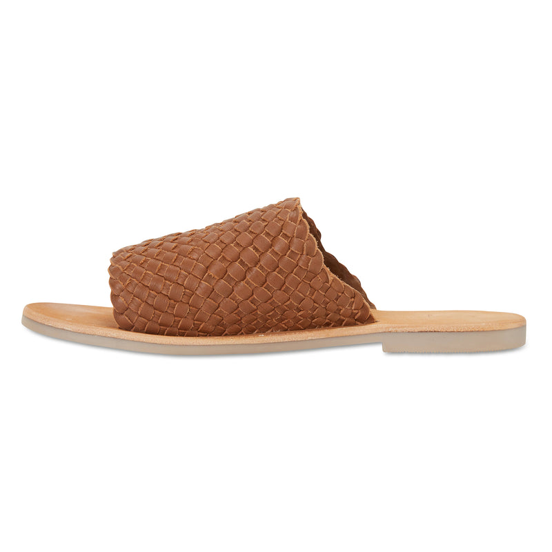 Juju cognac milled woven leather slides for women 4