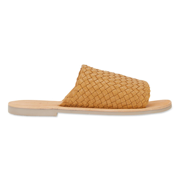 Juju mustard milled woven leather slides for women
