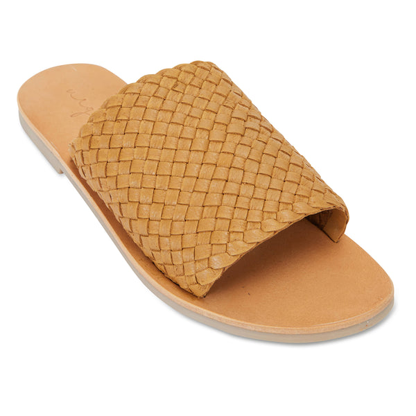 Juju mustard milled woven leather slides for women 1