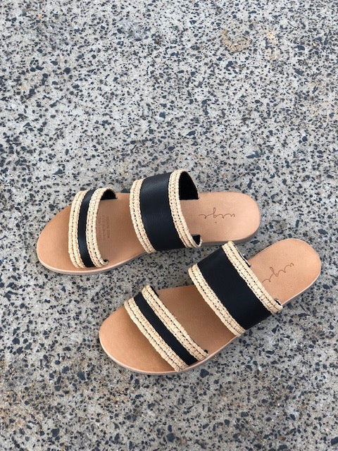 Kaia natural and black double banded slides for women lifestyle