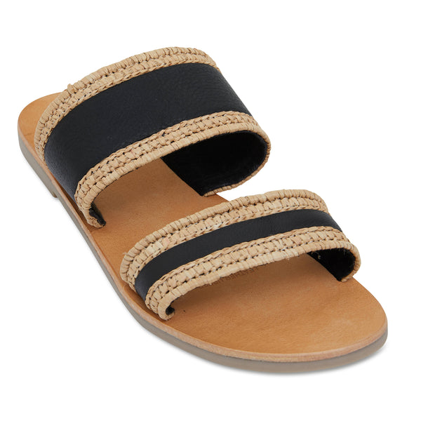 Kaia natural and black double banded slides for women 1