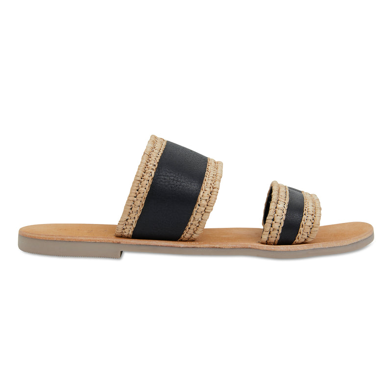 Kaia natural and black double banded slides for women