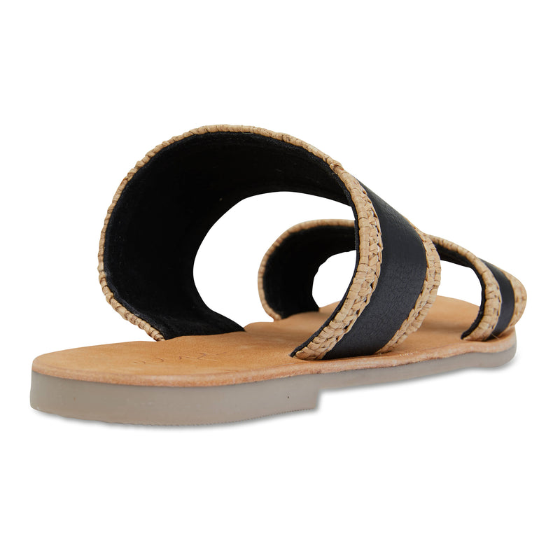 Kaia natural and black double banded slides for women 2