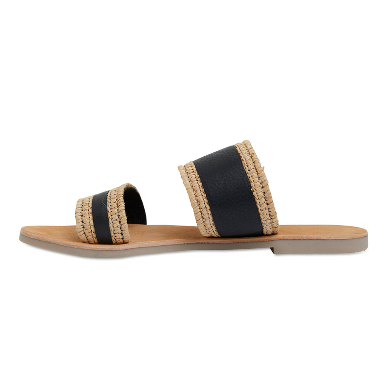 Kaia natural and black double banded slides for women 3