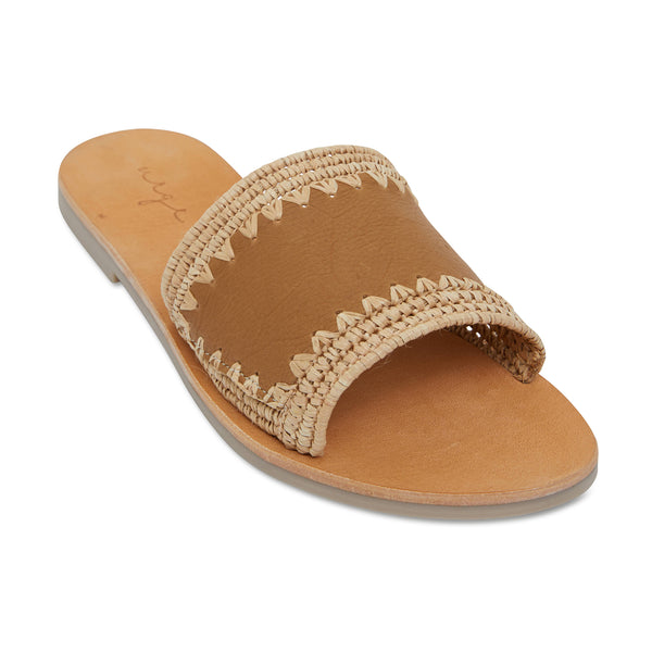 Karli natural woven and tan leather slides for women 1