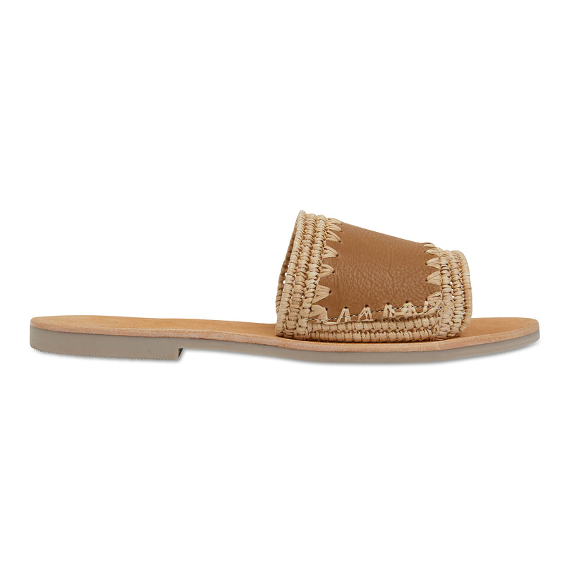 Karli natural woven and tan leather slides for women